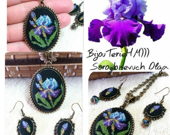 """Embroidered pendant and earrings """"Iris flower"""",embroidered jewelry, gift for women or girl"""