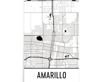 Amarillo Map, Amarillo Art, Amarillo Print, Amarillo TX Poster, Amarillo Wall Art, Map of Amarillo, Amarillo Gift, Amarillo Decor, Map Print