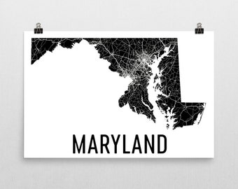 Maryland Wall Art, Maryland Gifts, Maryland Map, Maryland Wall Art, Maryland Print, Maryland Decor, Maryland Poster, Map of Maryland, Home