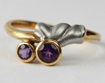 Amethyst Ring 18k Yellow White Gold Gift for Her February Birthstone Size 7