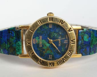 Natural Real Azurite Stone Watch Band Face Womens Gift for Her