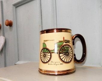 Car Enthusiast, Coffee Mug, Duryeas Automobile Mug, Motor Wagon 1895,  Mug c 1970s, Horseless Carriage, Automobile, American Early Car