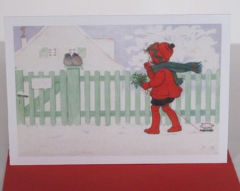 Little Girl in Red with Birds Card, Holiday Card, Greeting Card, Vintage, Retro