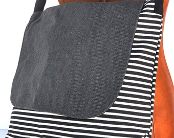 Canvas shoulder bag  black white stripe , messenger bag  school back, shoulder bag ,cross body back, canvas shopping bag