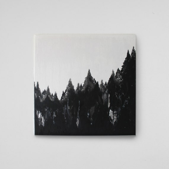 THE FOREST - Abstract art on canvas / acrylic painting with water / fluid Acrylic Painting / black and white black white