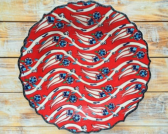 Red plate, Red ceramics, gift pottery, decorative plate, gift for wedding anniversary, colorful plate, pottery plate, colorful pottery