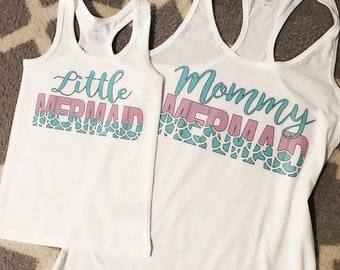 Little mermaid & mommy mermaid tanks! Mommy and me tanks. Matching mother and daughter shirts.