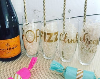 Stemless Champagne Cheers Y'all 4 Pack - Engagement - Congrats - Champagne Flutes - Custom Wedding Glasses - Flute