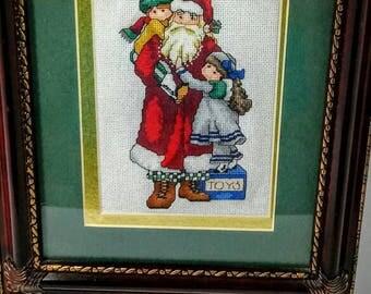 Cross Stitch December Santa by Alma Designs, Finished Cross Stitch, Completed Cross Stitch, Christmas Decor
