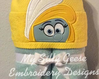 DIGITAL FILE 4x4 5x7 Smurfette Smurfs inspired Peeker hooded towel embroidery design hoodie towel topper bow holder