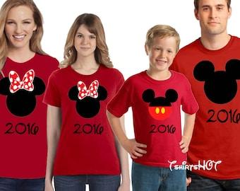 Disney Family Shirts, Disney Shirts, Disney 2017 Matching Shirts, Mickey and Minnie Head Shirts, Matching Disney Shirts, Disney Trip Shirts