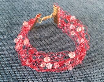 Pink wire crochet bracelet