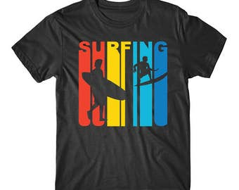 Retro 1970's Style Surfer Silhouette Surfing T-Shirt