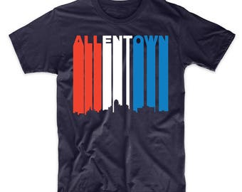 Retro Style Red White And Blue Allentown Pennsylvania Skyline T-Shirt