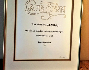 """South African Art: One of four pen & Ink drawings called the CAPE TOWN HAWKERS """" by Mark Midgely ."""