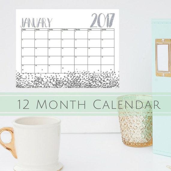 "2017 Monthly Calendar | Landscape Calendar | White and Silver Glitter Sparkles | Letter Sized Calendar 8.5"" x 11"" | INSTANT DOWNLOAD |"
