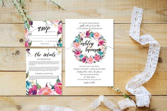 Flower wedding invite_17,Printable Wedding Invitation Suite,Wedding Invite Set,Wedding Printable,Calligraphy
