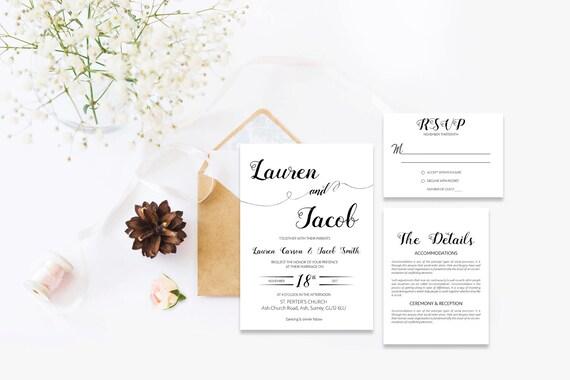 Elegant wedding invite_2,Printable Wedding Invitation Suite,Wedding Invite Set,Wedding Printable,Calligraphy