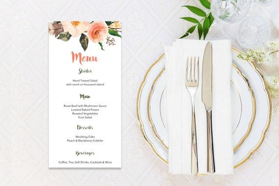 Menu word template_7,table menu, word template, weddings, editable menu card, napkin menu insert,calligraphy