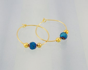 Gold hoop earrings / blue crystal bead earrings / beaded hoops for pierced ears
