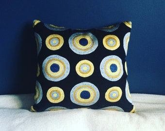 Navy and Yellow Embroidered Pattern Cushion