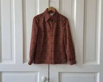 Vintage 70's Butte Knit Women's Brown Patterned Blouse