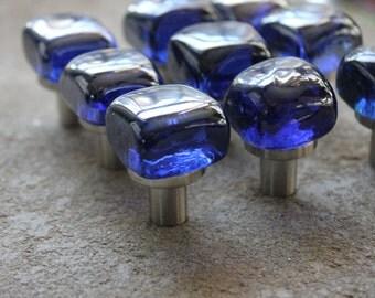 "1"" 1in Square Cobalt Blue Art Glass Cabinet Knob Pull Handle Drawer Door"