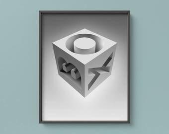 Box Geometric Poster, Minimalist Wall Art, Black & White Art, Printable Minimalist Art, Lettering Print, Typographic Poster, Gift for Men