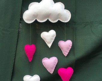 Baby mobile / decor - Hearts cloud