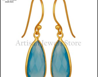 Blue Chalcedony Gemstone Jewelry, 14k Gold Plated 925 Silver Gemstone Jewelry, Wedding Earring