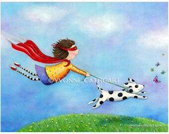 nursery room art, childrens wall art, girl superhero print, dog art, whimsical art, kids print, kids wall art, childrens decor, illustration