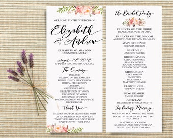 Bohemian Pink and ivory Floral Wedding Program, Wedding program printable, Boho Watercolor Flower Ceremony Program - US_WO0101