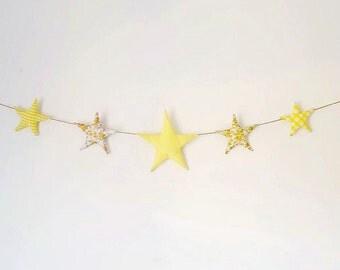 Fabric Star Garland, Wall/door hanging, Nursery Bunting, Gift