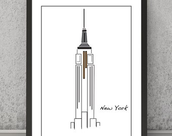 New York print, New York poster, New York art, NY Empire State Building, New York wall decor, New York wall art, New York art, Empire State