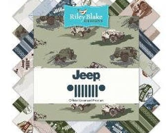 """Riley Blake Jeep Fabric Collection - 5"""" square stackers, 42 piece assortment"""
