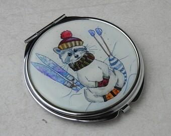 Raccoon -Cute Mirror - Hand Mirror - Compact Mirror - Children Mirror - Raccoon Mirrror - Small Round Mirror - Pocket Mirror - Metal Mirror