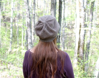 Everyday knit slouchy hat, hand knit basic slouchy hat, brown knit slouchy hat, women's winter hat, alpaca/wool blend