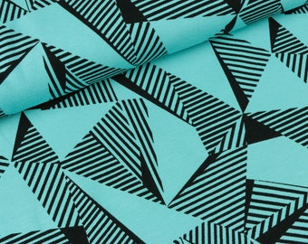 Cotton Jersey Malo large triangles black on light Turquoise (9,90 EUR / meter)