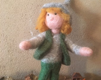 Young dwarf hand felted felt figure mobile organic Merino Wool