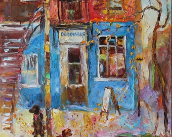Original oil painting, Landscape, cityscape, Montreal, Rue St-Urbain