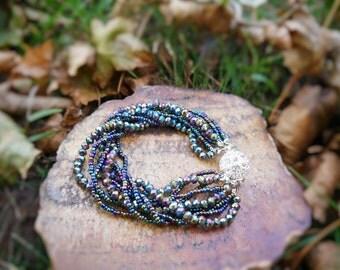 Dark green AB, Multi Strand Crystal Bracelet, Beaded Bracelet, High quality, Glass Bead Bracelet, Bridesmaid gift,