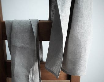 Stylish 100% LINEN tea towel set of 2. Natural, rustic, unbleached and undyed.
