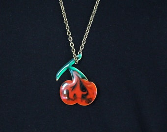 Top Vintage necklace of red copper, glazed, cherry * free shipping *