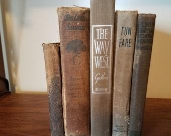 Vintage books, antique books, tan and brown books, book decor, classic books, wedding decor