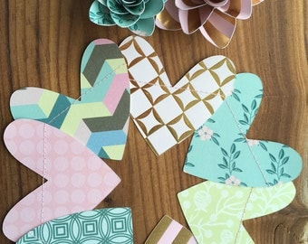 Heart Banner, Heart Bunting, Paper Hearts, Party Banner, Party Bunting, Pink Banner, Aqua Banner, Gold Banner, Pink Bunting, Aqua Bunting