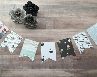 Party Banner, Black and White Banner, Flower Banner, Flag Banner, Paper Banner, Bows, Swans, Polka Dot Banner, Party Decor, Photo Prop