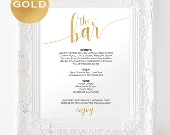 Gold Bar menu wedding - Bar menu sign - Drinks Sign - Bar menu printable - Gold wedding printable - Downloadable wedding signs #WDH0229