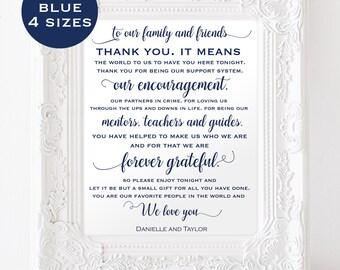 Wedding thank you sign - Navy Wedding - Thank you sign wedding - Navy Blue - Downloadable wedding #WDH8121090