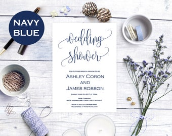 Wedding Shower Invitation - Bridal Shower Wedding Template - Navy Blue Wedding - Downloadable wedding #WDH812254