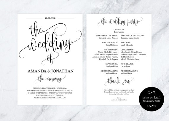 wedding program template - kraft paper program